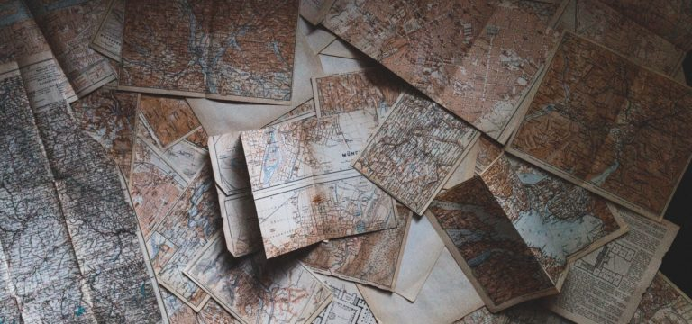 Maps spread out on a table